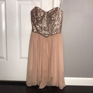 Rose Gold Strapless Sequin Party Dress